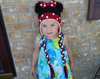 Minnie Mouse Hat with Pom Pom Ears, Ear Flaps, and Braids! Cute crochet winter Minnie Hat! Hand-made hat!