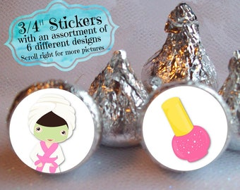 """3/4"""" Candy Stickers, Candy Favors, Spa, Beauty, Pink Colors, Birthday, Bridal Shower, Girls Night Out, Sleepover, Sheet of 108 Labels"""