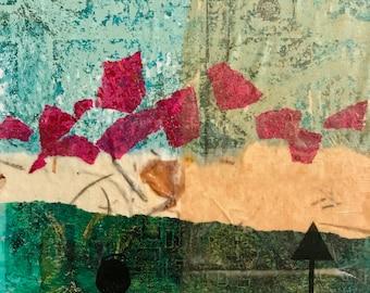 Mono Print, Mixed Media Art, Black Birds, Collage Art, Original Art,