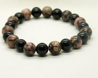Pink zebra jasper bracelet- black onyx bracelet- stretch bracelet- beaded bracelet