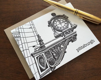 Kauffman's Clock - Pittsburgh City Series Letterpress Note Card
