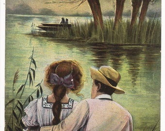 GLAMOUR, Romantic Couple, Moon, Lake,Fishing, Vintage Comic Postcard, EXTREME PRESSURE, c1910