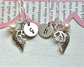 Mother Daughter Necklaces, Personalized Gift,  Initial Necklaces.. Sterling Silver