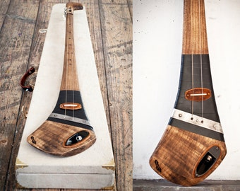 Handcrafted electric slide guitar by DaShtick. Aul boy diddley bow. Cbg