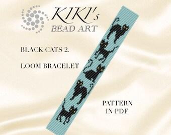 Bead loom pattern Black cats II. Loom bracelet pattern PDF - instant download