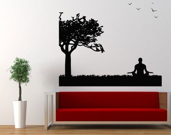 Wall Vinyl Sticker Decals Mural Room Design Pattern Yoga Posture Hindu  Buddha Tree Birds Bo436