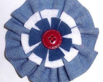 Fabric Floral Brooch or Pin in Chambray, with Blue and White Felt Accents - F1
