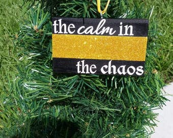 Thin Gold Line Glitter Christmas Ornament, Dispatcher Ornament, Dispatcher gifts, Dispatcher Christmas, Gold Line Ornament,