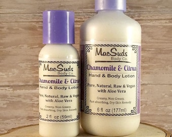 Chamomile and Citrus Lotion,  Aloe Lotion, Face Cream, Hand and Body Lotion, Dry Skin, Body lotion, hand lotion, Vegan lotion,