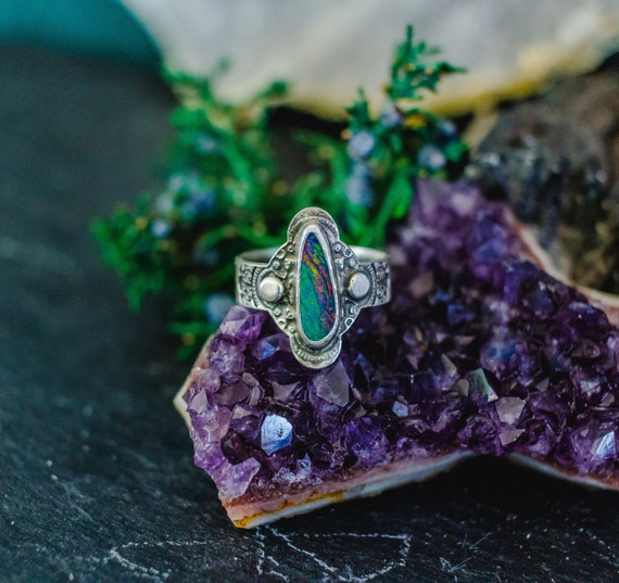 OOAK High Quality Opal Ring, Sterling Silver Ring, Opal Doublet, Australian Opal, 90's Ring, Filigree Ring, Rainbow Opal Ring