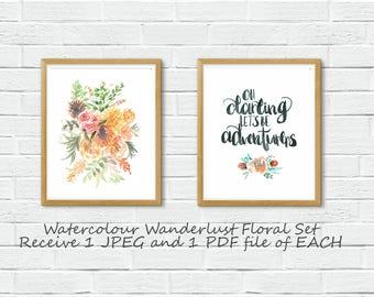 Set of 2|Wanderlust Floral Watercolour|Digital|Download|Instant 8X10|Printable|Travel|Explore|World|Adventure Awaits|Globe|Earth|Darling|