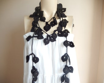 Black Crochet  Scarf-Leaves  Necklace Scarf-Lariat Neklace Scarf-Handmade Long Scarf