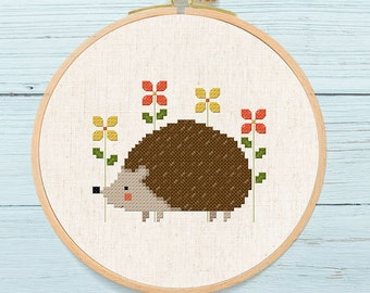 Cute Hedgehog and Flowers Cross Stitch Pattern, Modern Simple Hedgehog 2 Versions Animal Counted Cross Stitch Pattern PDF Instant Download