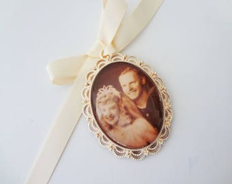 Oval Wedding Bouquet Photo Memory Charm - in Rose Gold