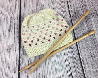 Fair Isle Baby Hat | Knitted Beanie for Babies 1-3 months | Pink Purple Gradient | READY TO SHIP