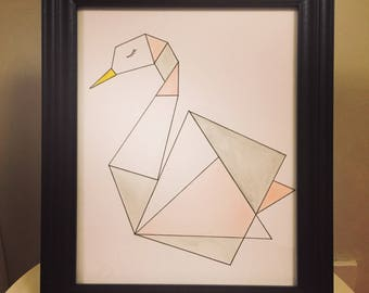 Geometric Swan Print