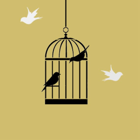 Bird Cage Stencil bird cage decor painting stencil wall