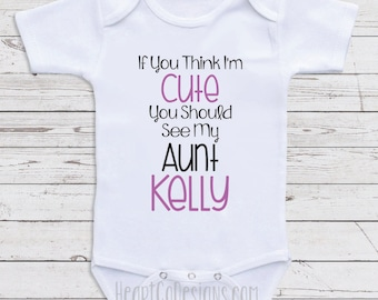Personalized baby clothes bodysuits my aunt becky loves personalized aunt baby clothes think im cute short or long sleeve baby negle Images