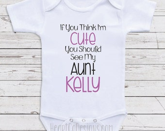 Personalized baby clothes moms bestfriend personalized aunt baby clothes think im cute short or long sleeve baby one piece for boys or girls baby shower gifts baby clothes d12 negle Image collections