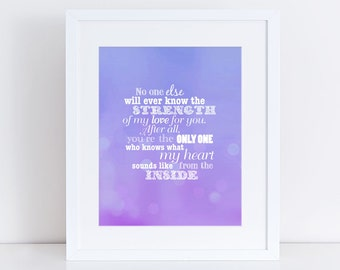 purple nursery decor girl quote - strength of my love - 10x8 print wall art, typography nursery art, new baby new mother, watercolour effect