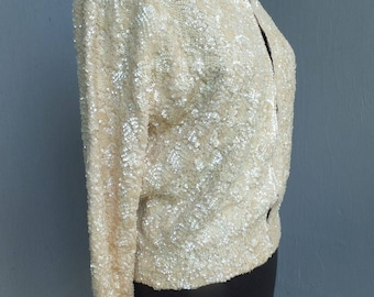 Vintage 1950s Sequin Sweater, MODELLE'S, Creamy White Hand Sewn Sequin Cardigan - Sweater, size 42