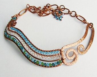 RIVER - Curvy Crystal and Hammered Copper Aqua Green Statement Necklace