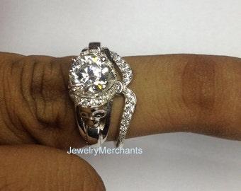 Bridal Skull Wedding Ring Set 2.45 Ct Round White Gothic Engagement Ring Set Real 925 Sterling Silver 14K White Gold Plated Promise Ring Set