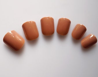 24 False Nails, Color Nails, Short Squoval Nails, High Quality Artificial Nail Tips w/Adhesive Tabs - Coffee Brown  #FREE SHIPPING