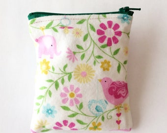 Ear bud purse, flower coin purse, earbud holder, danish style purse, credit card purse, key bag, small white bag, teachers gift, teens pouch