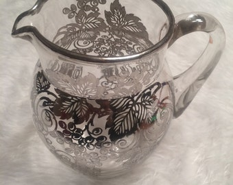 Vintage Silver-Painted Pitcher Grapes and Vine Design
