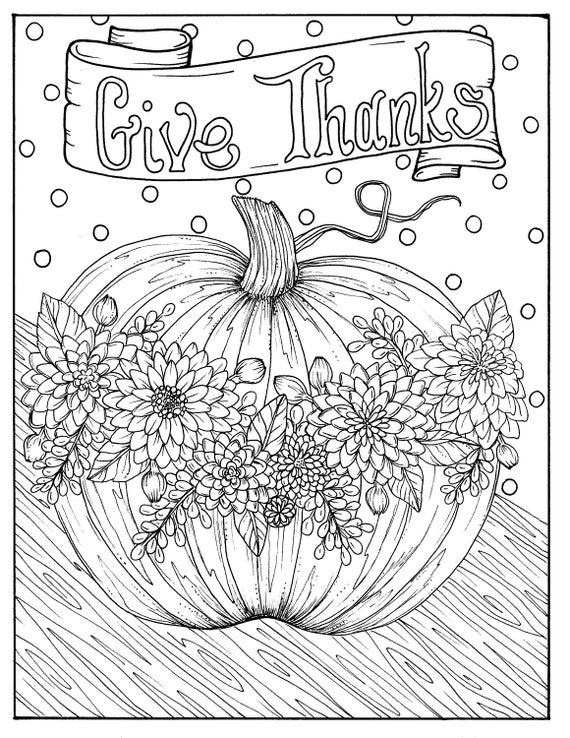 Give Thanks Digital Coloring page Thanksgiving harvest