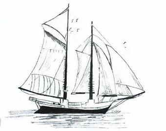 Sailboat drawing pen and ink Nautical sketch Boat print