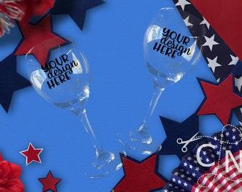 Mockup, Wine Glasses, Adult, Styled, July, Patriotic, Summer, Craft Mockup, Mockup Design, Svg Mockup, Mockup for Svg, Jpeg, Mock up, Vinyl