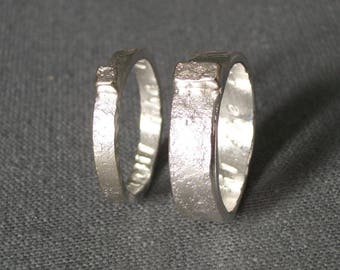 Hand Forged and Granite Textured Sterling Silver Wedding Band Set, Rustic-Modern Wedding Ring Set, Nature Inspired Wedding Band Set