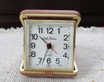 Seth Thomas Vintage Travel Alarm Clock in Case Wind Up Works Gift Decor Office Desk