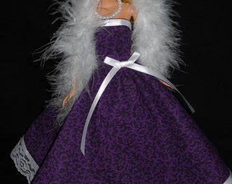 3 Piece Barbie Doll Dress Outfit Handmade Purple Gown with Boa and Necklace