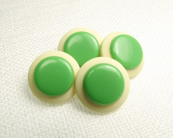 """With a Green Dot: 5/8"""" (15mm) Off-White and Spring Green Buttons - Set of 4 New / Unused Matching Vintage Buttons"""