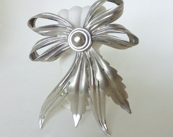 Vintage 1960's Sterling Silver Bow and Leaf Statement Pin