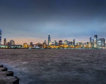 The windy city. Evening view of Chicago over the harbour, lakefront skyline, cityscape, sunset, Home decor, Photographic Print