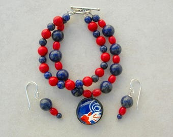 Japanese Koi Pendant Bracelet & Earrings Set, Blue Lapis, Red Turquoise and Coral, Sterling Silver Clasp and Earrings, Set by SandraDesigns