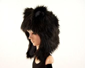 Black Bear Hat Faux Fur