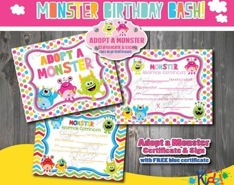 Instant Download Adopt a Monster Certificate and Sign-Pink-Monster birthday game-Monster party decoration-Monster Birthday Printables