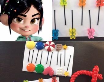 Vanellope von Shweetz candy hair clips, Vanellope Costume, Wreck it Ralph Costume, Candy Hair Clips, Licorice Hair Clip, Vanellope candy