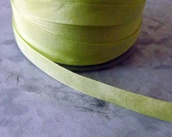 Silk Celery Green Ribbon 1/4 inch 2 Yards 100% Silk