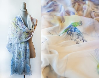 Silk Shawl Hand Painted White Peonies And Hummingbirds Ready To Ship
