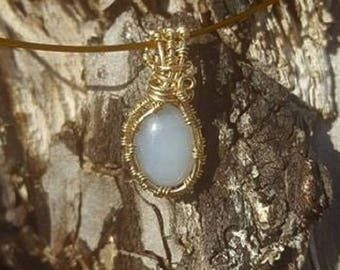 14k Gold, 4.45 Ct. Ellensburg Blue Agate Wire Wrapped Pendant