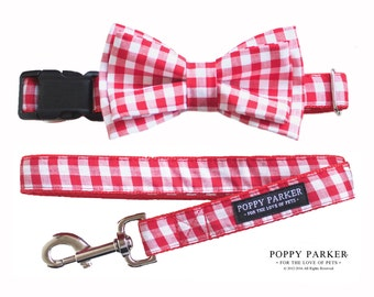 Red Gingham Layered Dog Bow Tie - Optional Leash - Christmas Dog Collar