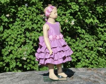 Dusty rose flower girl dress. Toddler girls special occasion dress. Dusty pink taffeta flower girl ruffle dress. Girls summer wedding dress