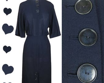 Vintage 50s Dress / Navy Blue Dress / 50s Navy Dress / 50s Sheath Dress / Rockabilly Dress M L Buttons Pinup Wiggle Party Wool Dolman Sleeve