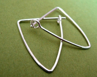 Sterling silver hoops - 18ga triangle shaped, 1 inch tall - Silver Bullets
